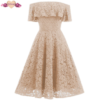 New Off Shoulder Lace Dress Vintage Women Summer Sleeveless Rockabilly Party Dresses Female Clothes Backless Tunic