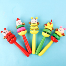 Creative baby hand rattle wooden cartoon animal 0-1 year old early education educational toys  Baby