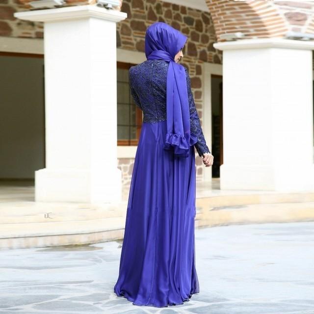 Muslim Evening Dresses   Long Sleeves Lace Bodice Islamic Dubai Abaya Kaftan Hijab Long Evening Arabic Dress
