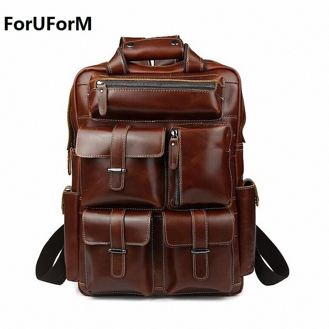 Multifunctional Oil Genuine Leather Backpack Men Backpack Fashion ...