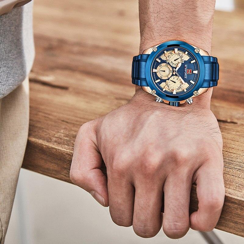 NAVIFORCE Top Brand Men's Fashion Quartz Wrist Watch Waterproof Stainless Steel Military Sports Watches Clock Relogio Masculino