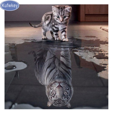 100% square 5D Diy Daimond Painting Cats To Tiger 3D Diamond Painting Round Rhinestones Full Diamant Painting Embroidery Animals