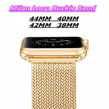 Stainless steel Milan Loop Watch Band 44/40mm For Apple Watch Series 4/3/2/1 Buckle Bracelet Strap For Iwatch Series 38/42mm цена и фото