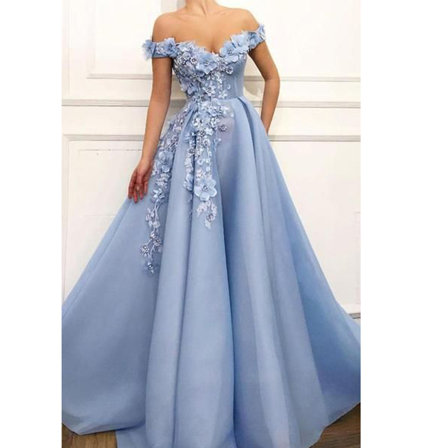 LORIE 2019 Prom Dresses off the shoulder Prom Dresses Flowers Appliques Beautiful Princess dress Tulle Backless robe de soiree 1