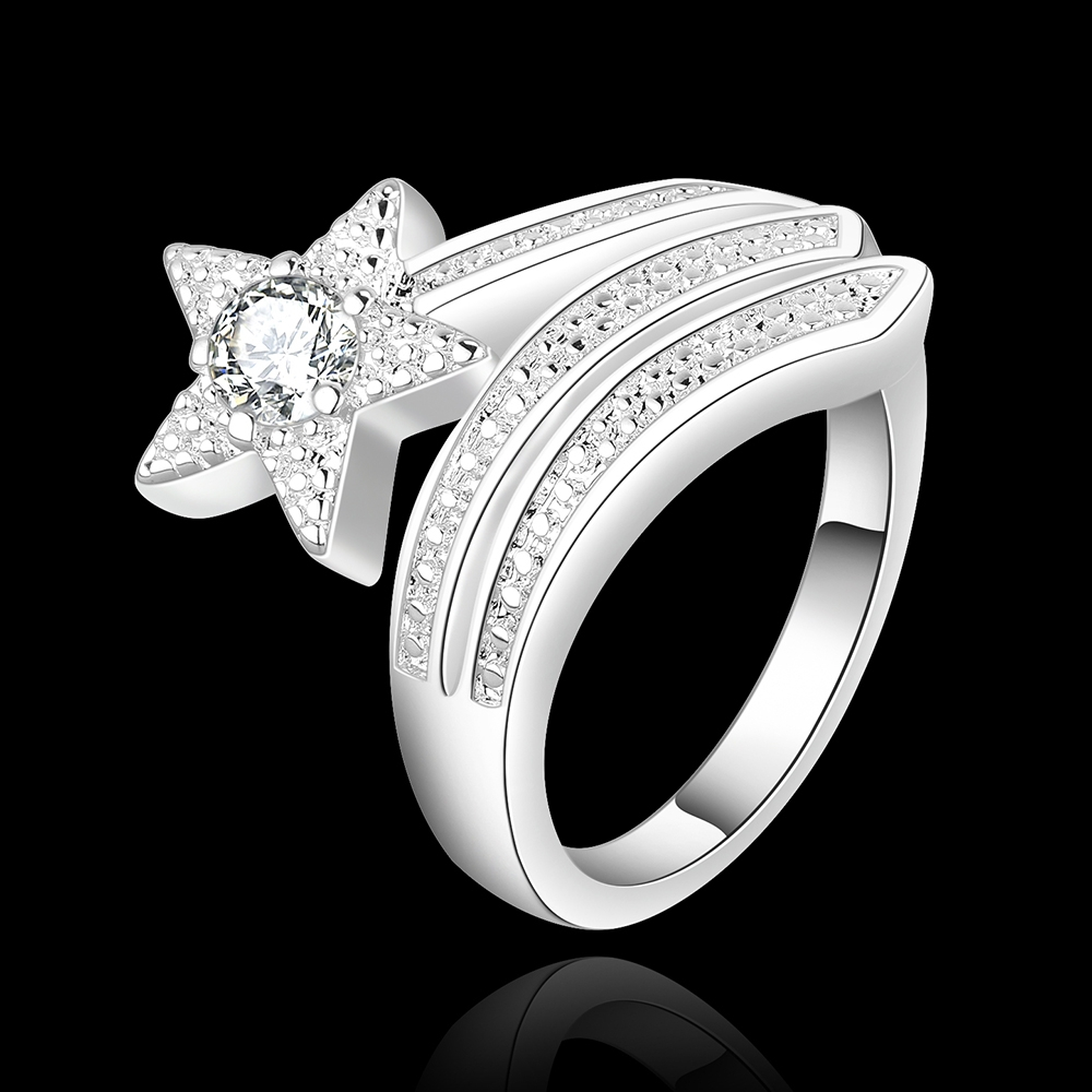 LJ&OMR Beautiful crystal silver rings with stones , star fashion ...