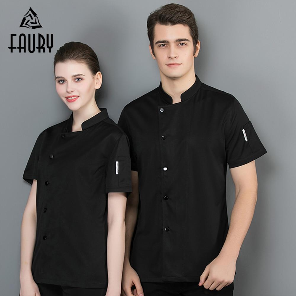 Chef Uniform Summer Short Sleeve Breathable Mesh Unisex Chef Shirt Men Women Chef Cook Jacket Kitchen Sushi Uniform Work Clothes