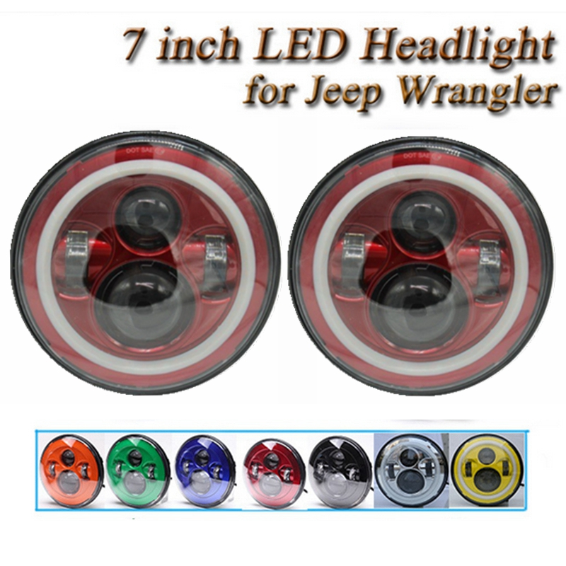 Pair 7 Inch <font><b>Led</b></font> Headlight with Halo Ring DRL & Signal Light for Jeep Wrangler Jk <font><b>Tj</b></font> Harley Motor with H4 Plug H4-h13 Adapter