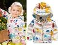 2016 New children girls spring jacket Cute Baby Girl clothes Print Cartoon Graffiti Hooded Girl Coat long Sleeve girls outerwear