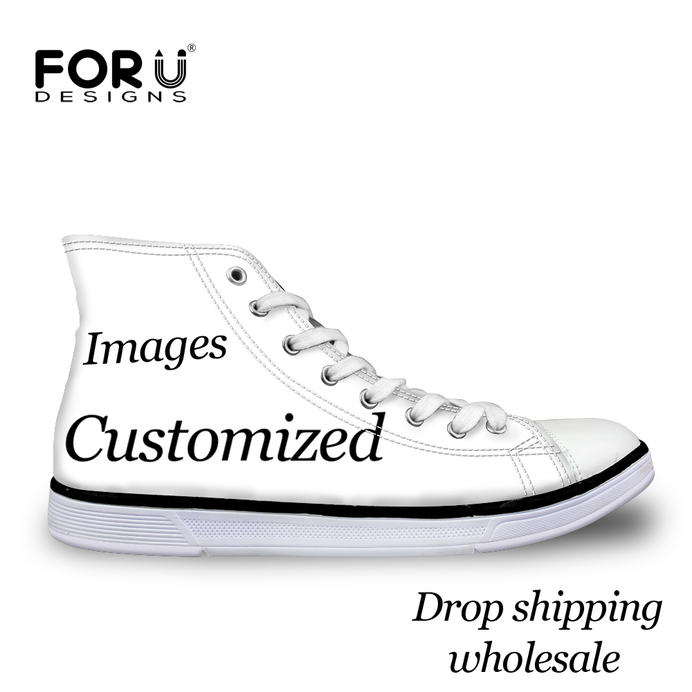 FORUDESIGNS Custom Images or Logo Men High Top Canvas Shoes Classis Lace-up Vulcanized Shoes Fashion Students Boys Flat Shoes