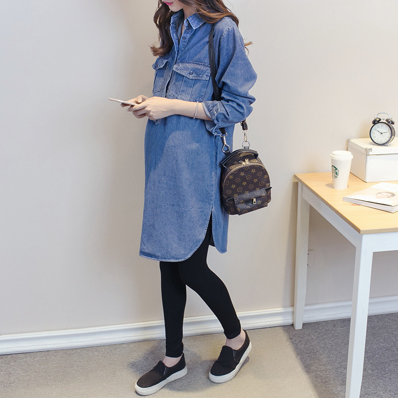 Fashion Long Denim Maternity Blouse Tops Pregnancy Clothes Fs