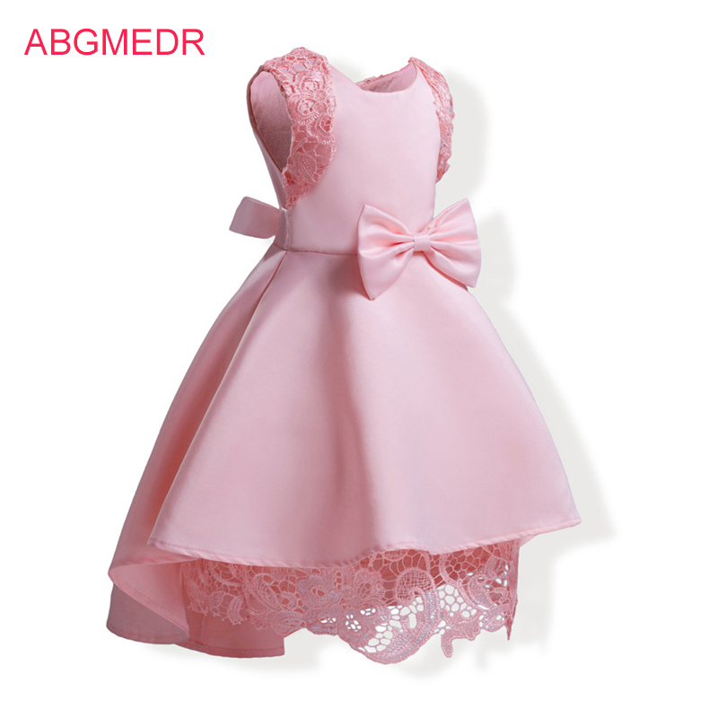 Baby Girls Dresses Lace Crochet Dress 2017 Fall Monsoon Kids Clothing Girls Dress High Low Dress Children Cotton Lining Clothes