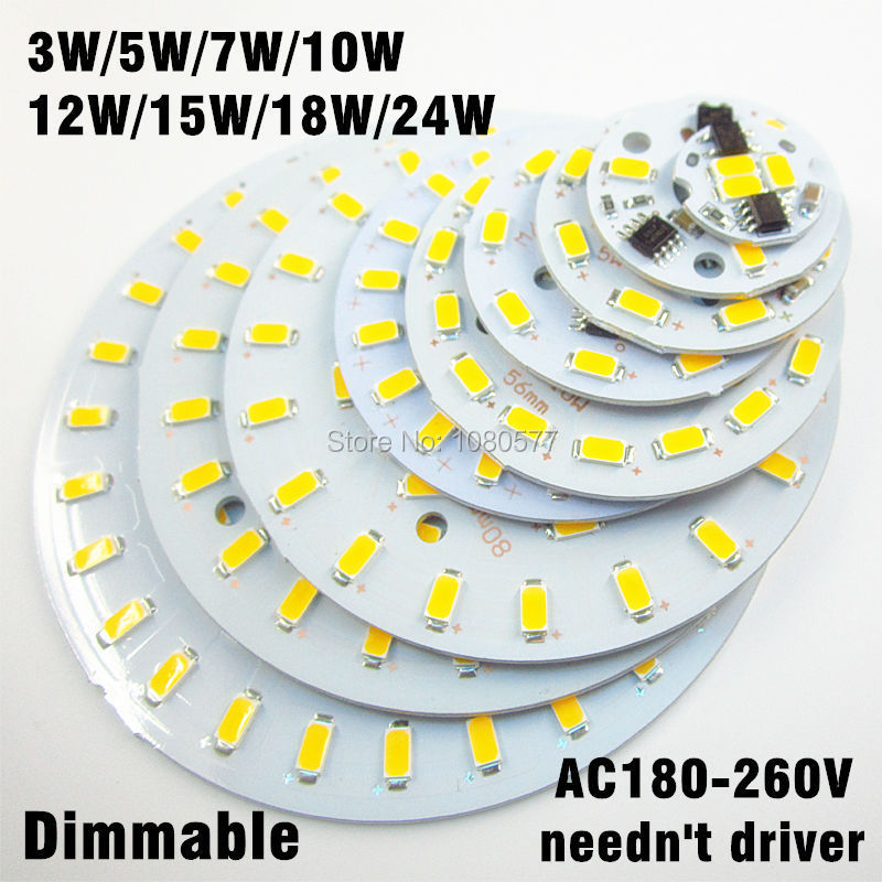 20pcs 220v 5730 SMD dimmable led pcb plate 3W 5W 7W 10W 12W 15W 18W 24W integrated ic driver lamp panel White Warm White 20pcs 12w led light panel smd 5730 ic driver pcb input voltage ac110v 130v needn t driver aluminum plate free shippping
