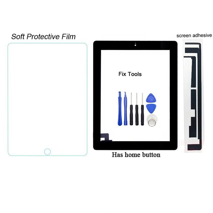 1 Pcs Normal Arbeiten Digitizer Touch Screen Outer Panel Für Apple Ipad 2 A1395 A1396 A1397 Front Glas Objektiv + Taste + Werkzeuge + Kleber + Film