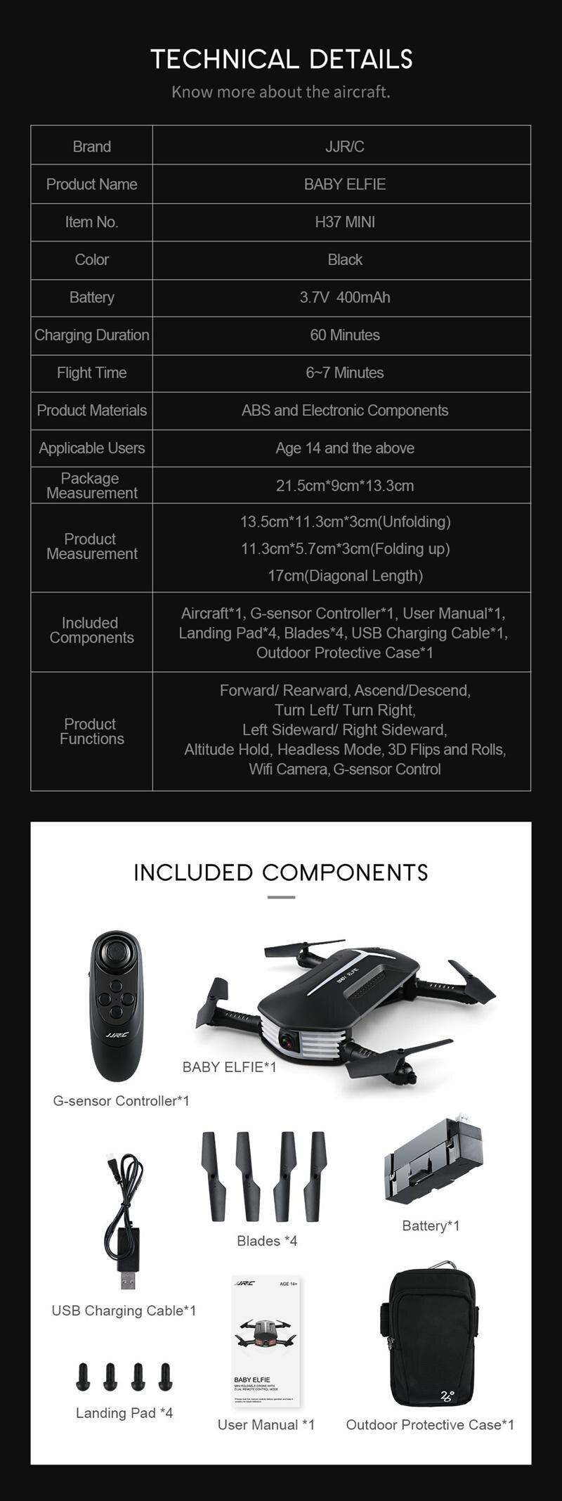 JJRC H37 mini 4CH 6 Axis WIFI FPV Mini Drone RC Selfie Quadcopter Camera Foldable