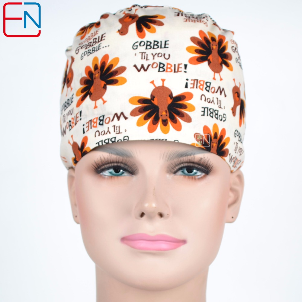Hennar Surgical Caps 100% Cotton Medical Scrub Caps Masks For Women Hospital Medical Hats Print Tieback Elastic Surgical Caps