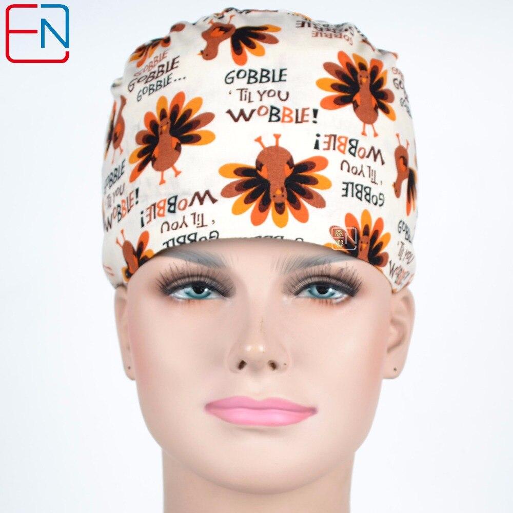 Hennar Surgical Caps 100% Cotton Medical Scrub Caps Masks For Women Hospital Medical Hats Print Tieback Elastic Surgical Caps