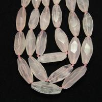 Faceted Pink Quartz Long Rice Beads For Necklace Jewelry Strand Cut Natural Stones Center Drilled Raw