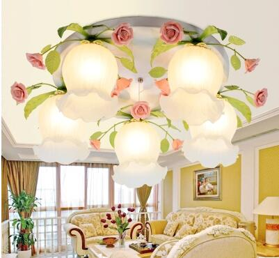 Rural and plant living room lamp is LED lamp dining-room children iron art rose flower absorb dome light