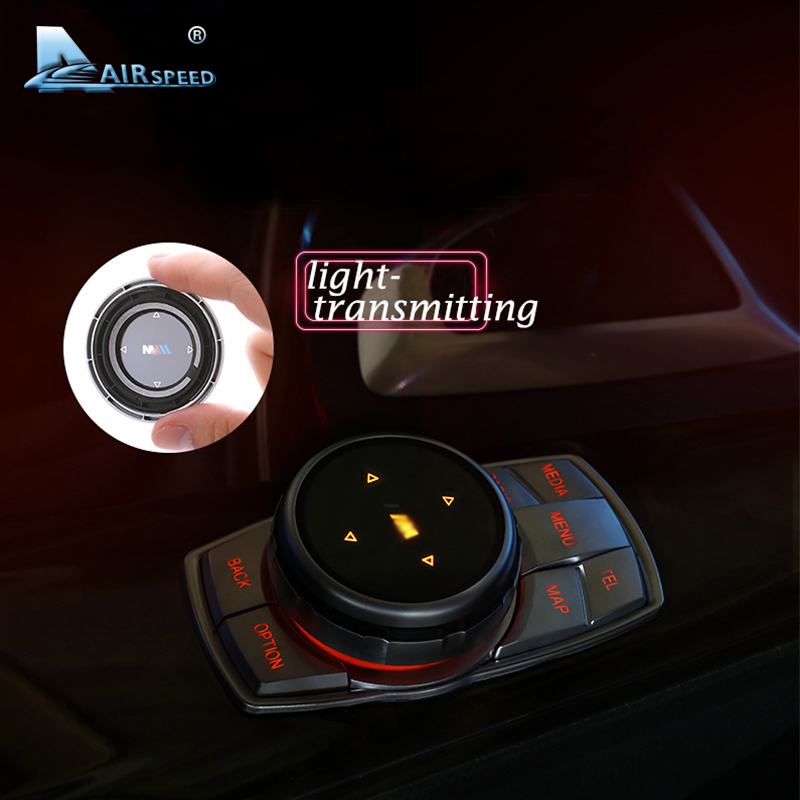 AIRSPEED ABS Car Multimedia Buttons Cover Stickers iDrive for BMW X1 X3 F25 X5 F15 X6 F16 F30 F10 F07 E90 E60 F11 1 2 5 7 Series