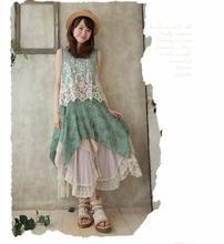 Japanese Mori Girl Laces Flowers Print Boho Lolita Sleeveless Asymmetric Hem Summer Loose Dress