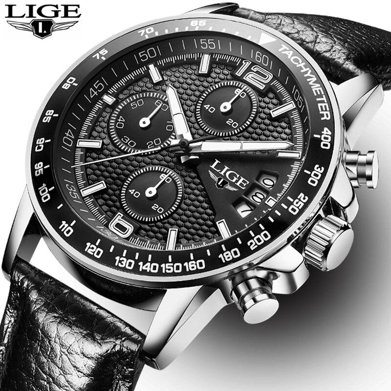 LIGE marque LIGE 2017 nouvelles montres pour hommes montre à quartz hommes chronographe étanche 30 M montre de sport en acier Relogio Masculino + boîte
