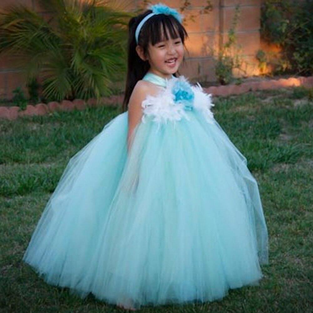 c554bd03536 Aqua Mint Flower Girl Dresses Eggplant Flower Wedding Princess Girl Party TuTu  Dress Party Birthday Dresses Customsize