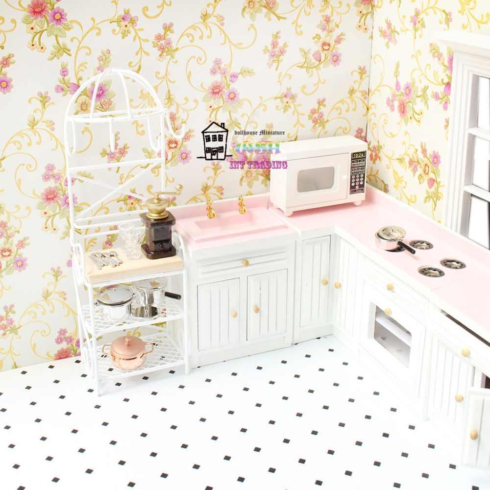 """6,89 """"Кукольный дом Миниатюрный 1:12 металлические куклы мебель белая кухонная стойка для хранения Трехслойная полка красивые украшения"""