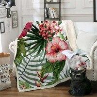 Tropical Flowers Sherpa Throw Blanket Leaves Red Green White Bedspread Tropical Plants Velvet Plush Bed Blanket 150x200