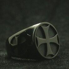 Мужские Мальчики 316L нержавеющая сталь крутой байкер классический черный крест кольцо