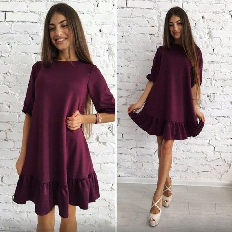 Fest Farbe Drei Viertel Rüschen Herbst Kleid 2018 Frauen Laterne Hülse Oansatz Lose Beiläufige Mini Kleider Vestidos