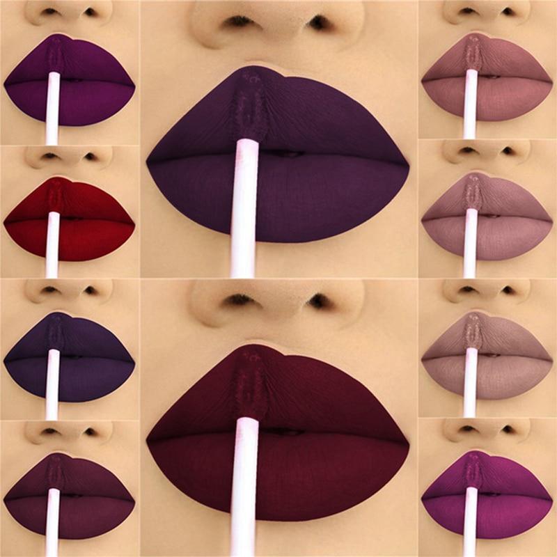 24 цвета жидкая помада матовая макияж водонепроницаемый красный для губ стойкий блеск мате черная Губная Помада Жидкая помада