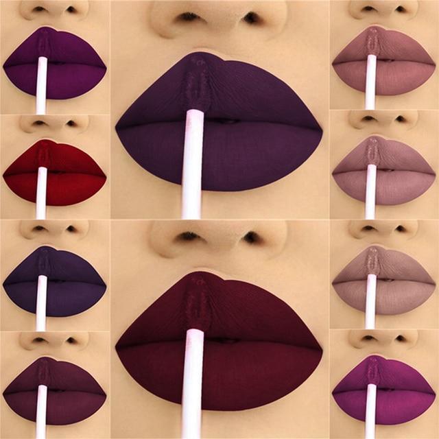 24 צבע נוזל שפתון מט איפור עמיד למים אדום שפתיים לאורך זמן גלוס Mate שחור מט מקל השפתיים נוזלי שפתונים
