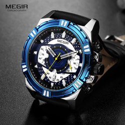 2019 MEGIR New Fashion Mens Watches Top Brand Luxury Big Dial Army Sport Chronograph Quartz Wristwatch Leather Watch 2118 Blue