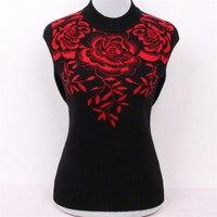 Большие размеры чистый козел кашемир алмазы жаккардовые толстой вязки женщин Модный пуловер свитер красный 3 вида цветов M/5xl
