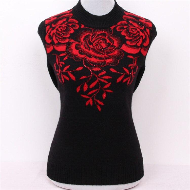 Grandi dimensioni puro cashmere di capra diamanti jacquard spessa maglia di modo delle donne pullover maglione rosso 3 colori M/5XL