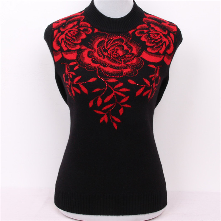 large size pure goat cashmere diamonds jacquard thick knit women fashion pullover sweater red 3color M/5XL