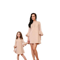 2019 Family Matching Clothes Mama Mom Mother & Kids Girls Mother Daughter Dresses Family Look Half Sleeve Knee length Dresses