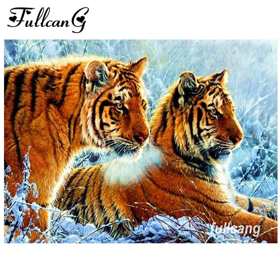 FULLCANG mosaico 5d costura diy diamante bordado nieve tigre diamante - Artes, artesanía y costura
