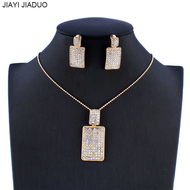 jiayijiaduo Dubai women's jewelry wedding jewelry set necklace earrings set crystal pendant gift