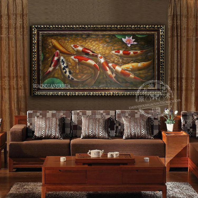 Девять рыбы повезло Золото животных масло художественная роспись довольно забавно 100% ручная роспись маслом канва стены искусства для гостиной Декор