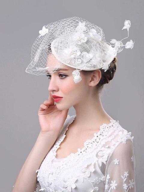 Vintage Wedding Bridal Hair Accessories Flower Feather Tulle Birdcage Veil Headpiece Head Veil 2017 Cheap Mini Wedding Bride Hat
