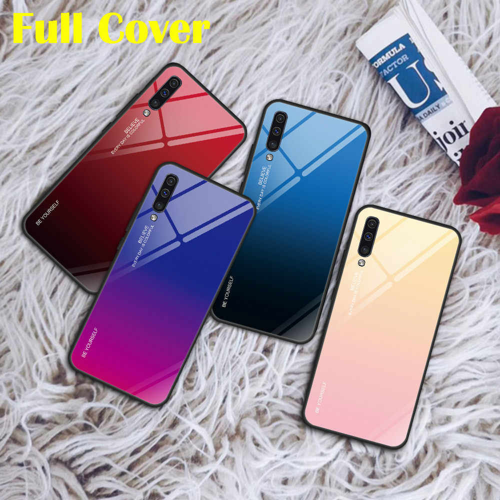 Gradient Tempered Glass Case for Samsung A30 A50 A40 A60 A70 A20 A10 A20E M20 M30 Galaxy A7 A9 2018 A8 A6 Plus Back Case Coque