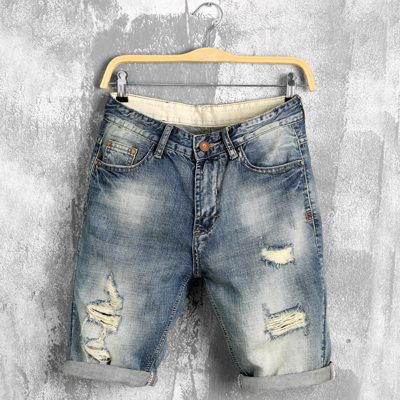 Loose Jeans Shorts Mens Denim Elasticity Distressed Thin Casual Summer Youth Homme Korean