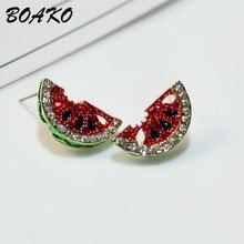 Korean Style Cute Watermelon Stud Earrings For Women 2019 New Crystal Zircon Real 925 Sterling Silver Fruit Jewelry