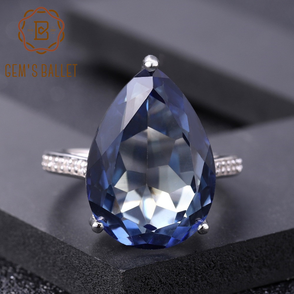 Image 2 - Женское кольцо для коктейлей GEMS BALLET, кольцо из серебра 925  пробы с натуральным иолитом и синим мистическим кварцем, 10.68CtКольца