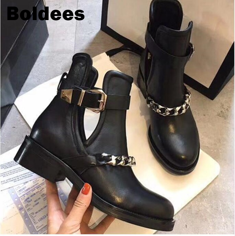 Autumn fashion genuine leather Black round toe Metal chains ankle boots chelsea low heeled short matin boots newAutumn fashion genuine leather Black round toe Metal chains ankle boots chelsea low heeled short matin boots new