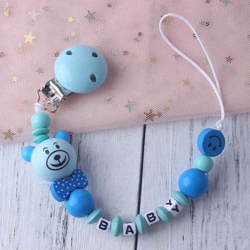 Nombre personalizado bebé chupete Clip cadena infantil niños niñas lindo Oso de dibujos animados juguetes chupete cadena titular tetina de alimentación para bebé