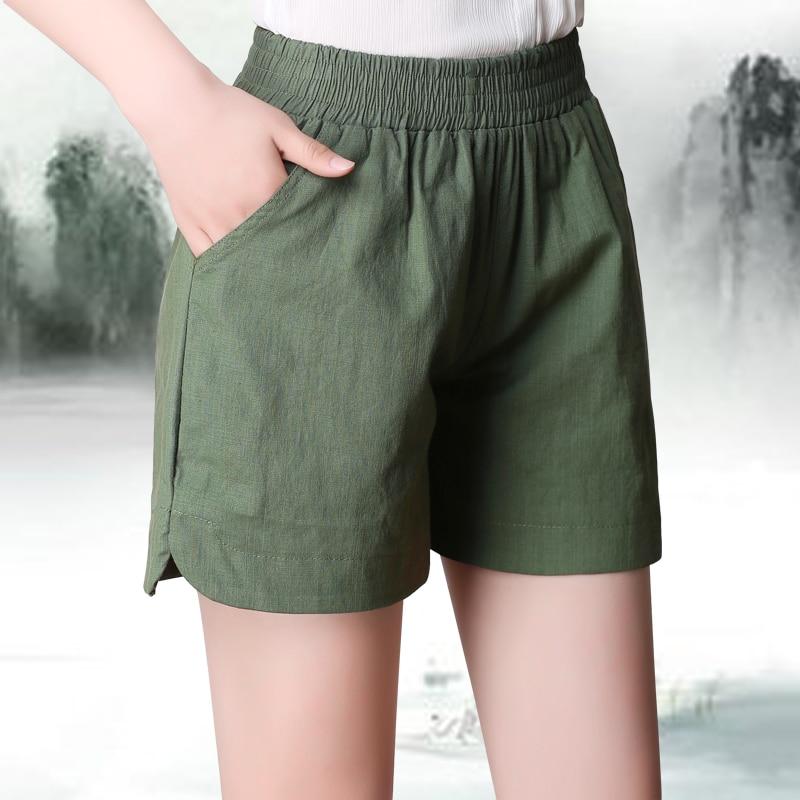Plus Size S-4XL Summer New Fashion Loose Cotton Linen High Elastic Waist Women Bermuda Half Long Basic   Shorts   Candy Colors