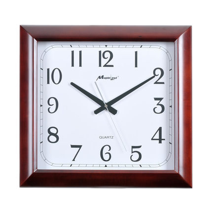 Maple Genuine Wood Rectangular Clock Large Living Room Wall Mute Quartz Watch Chinese Office