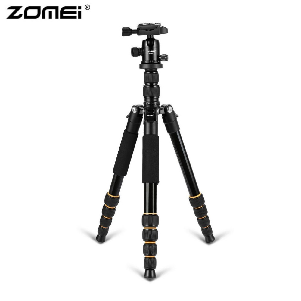 Zomei Q666 Professional Camera Tripod Lightweight Portable Travel Aluminum Monopod With 360 Degree Ball Head For DSLR Camera new professional portable aluminum tripod for dslr camera camcorder travel tripod stand removable monopod with ball head